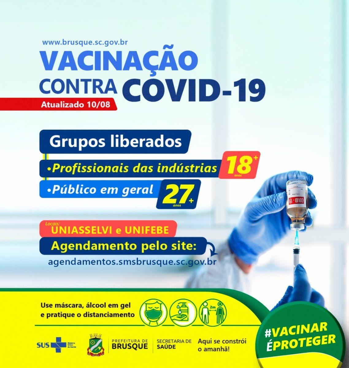 Covid-19: Brusque abre agendamento para vacina a pessoas com 27 anos ou mais