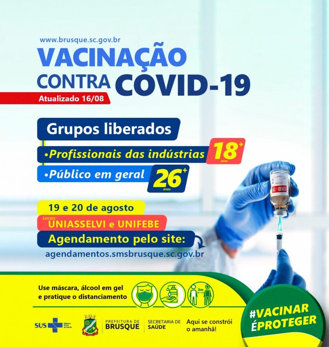 Covid-19: Brusque abre agendamento para vacina a pessoas com 26 anos ou mais