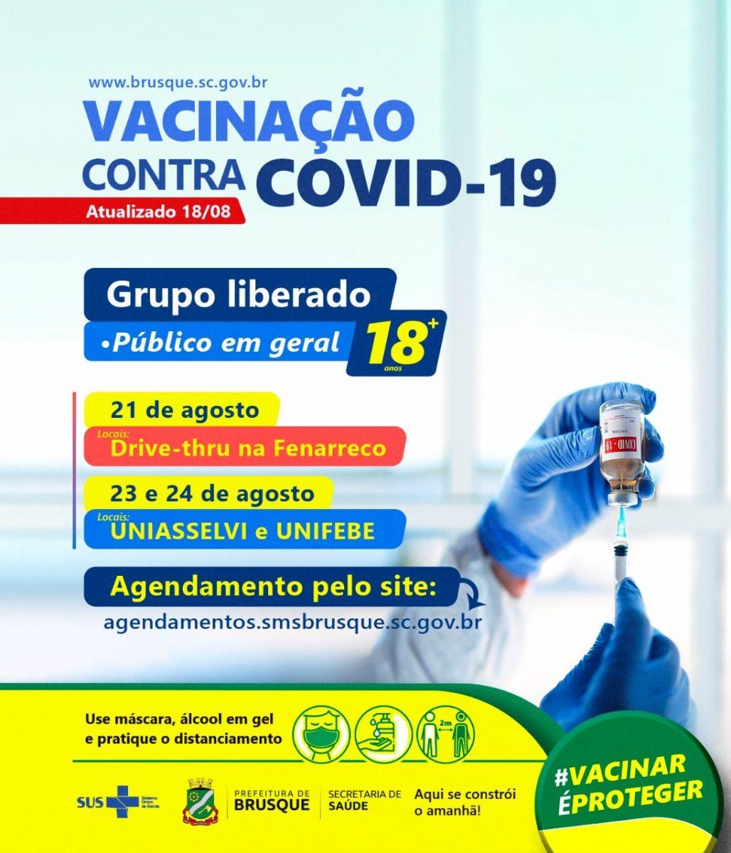Covid-19: Brusque abre agenda para vacina ao grupo de 18 anos ou mais