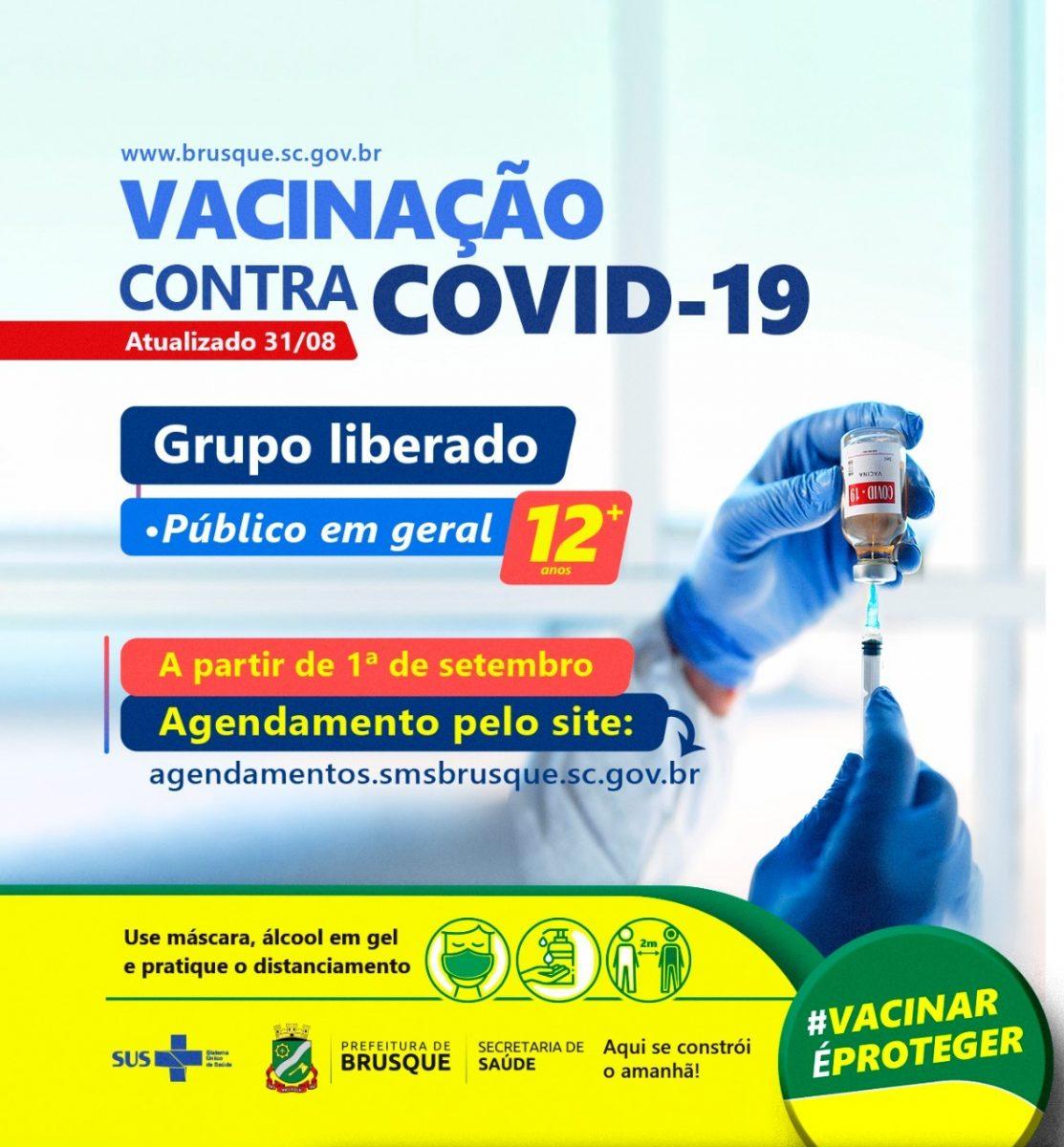 Covid-19: Brusque abre agenda para vacinação para esta quarta-feira, incluindo adolescentes