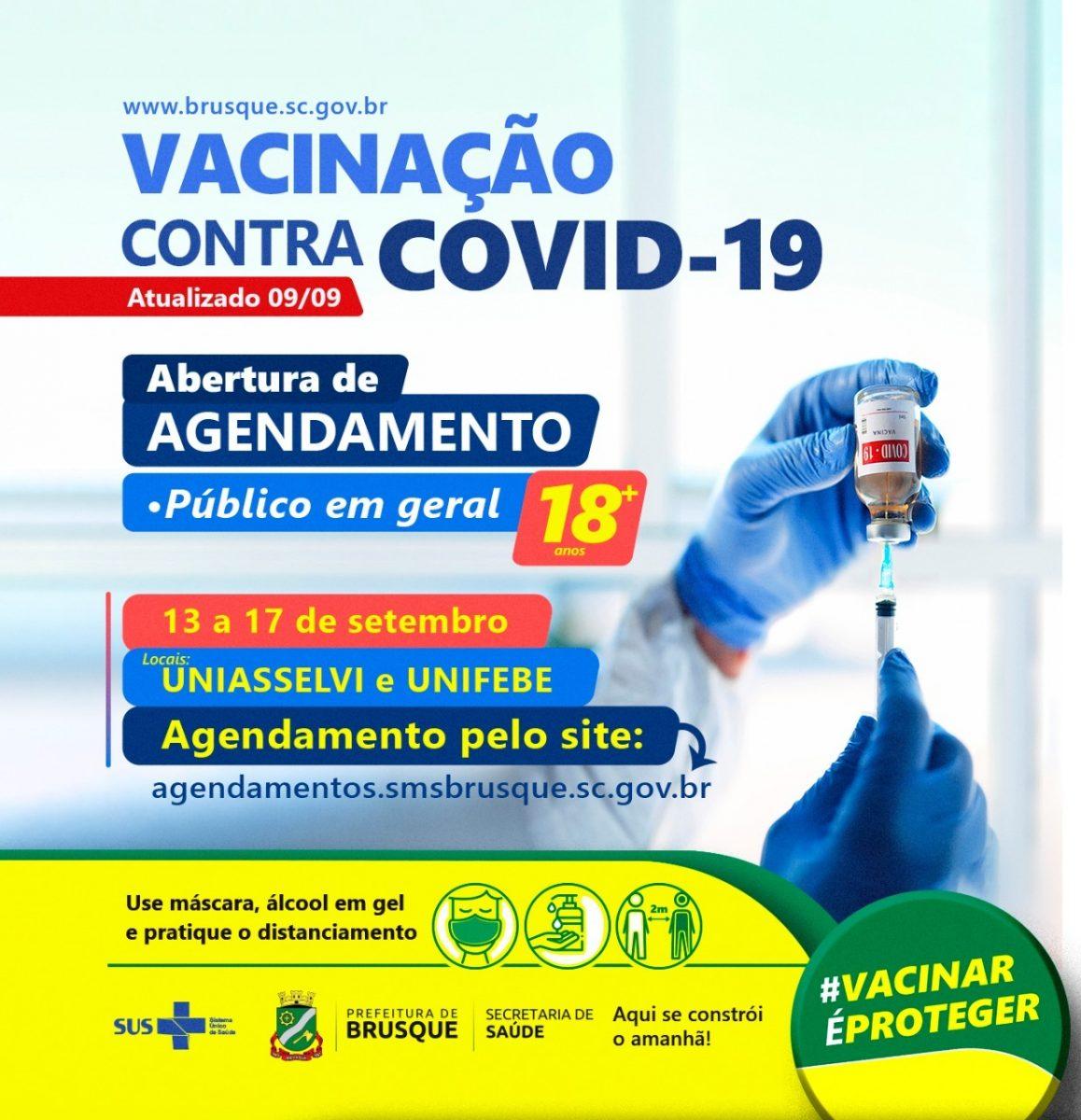 Covid-19: Brusque abre nova agenda de vacinação para maiores de 18 anos
