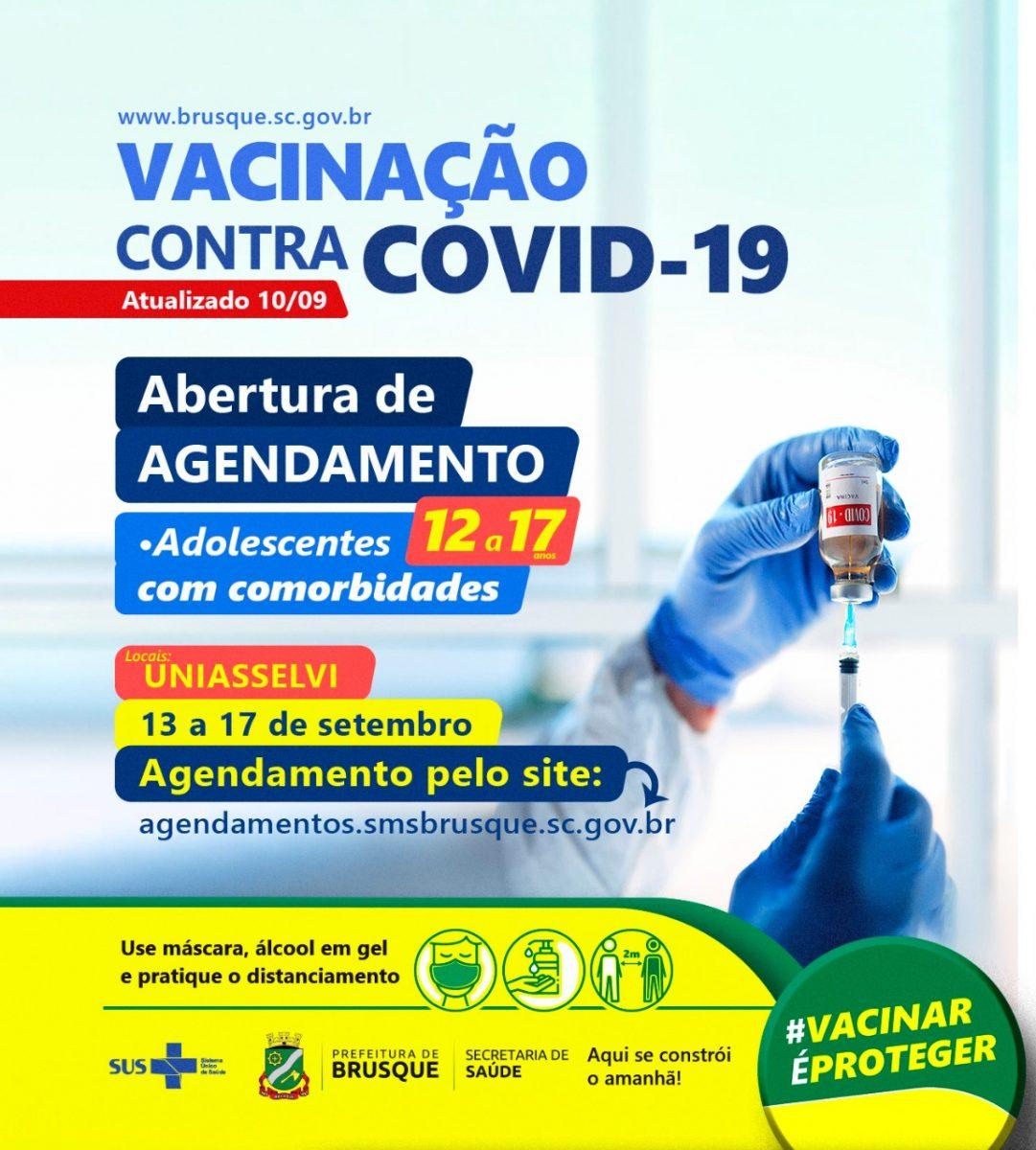 Covid-19: Brusque abre nova agenda para vacinação em adolescentes de 12 a 17 com comorbidade
