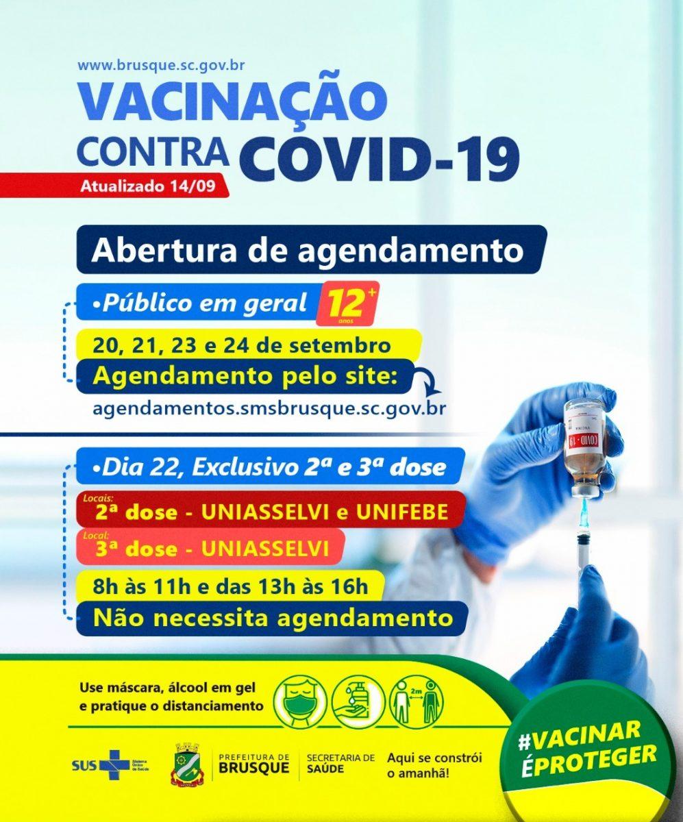 Covid-19: Brusque abre agendamento de vacina para os dias 20, 21, 23 e 24 de setembro para pessoas de 12 anos ou mais