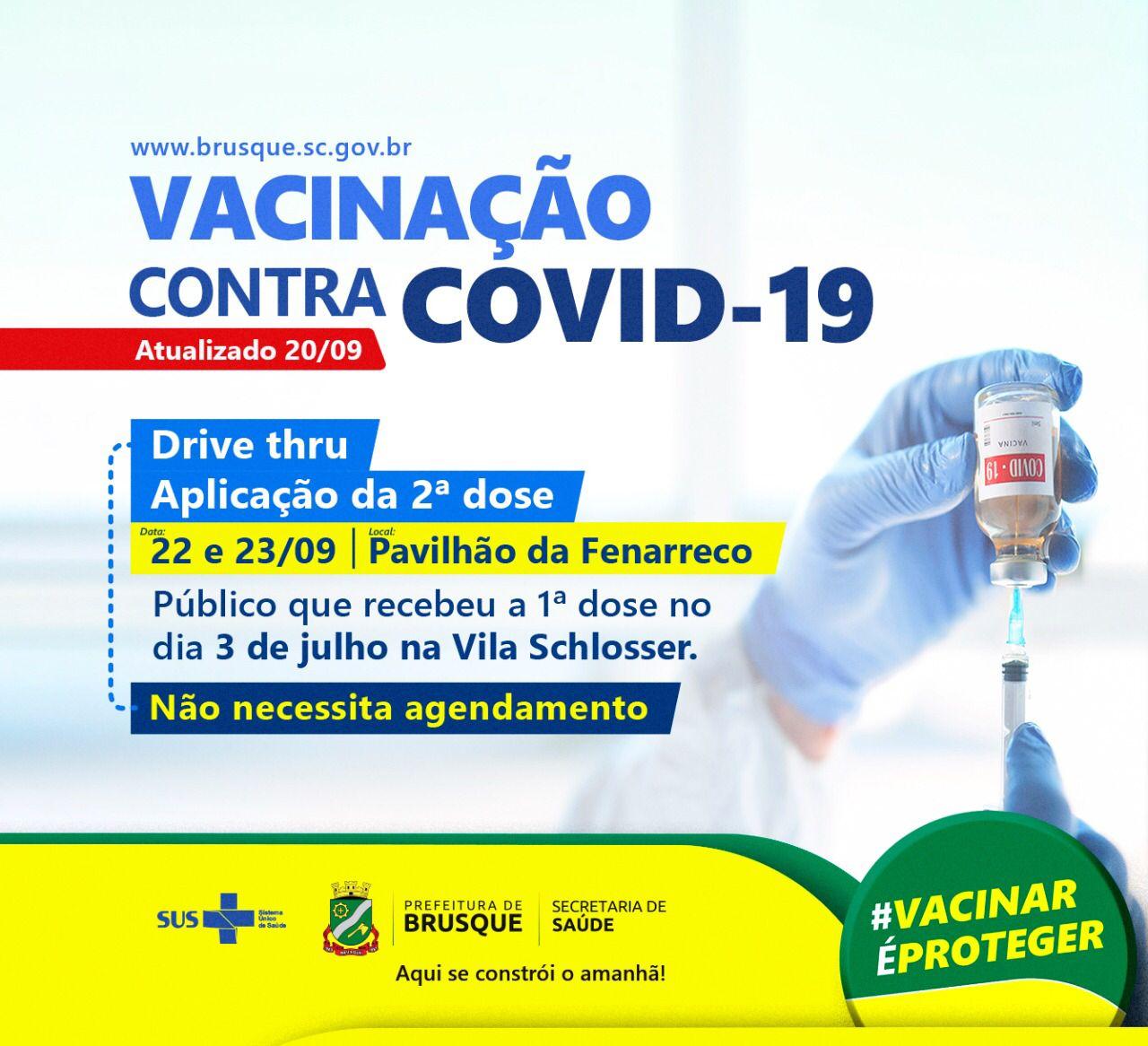 Covid-19: Drive thru para aplicação da segunda dose será realizado nos dia 22 e 23 de setembro