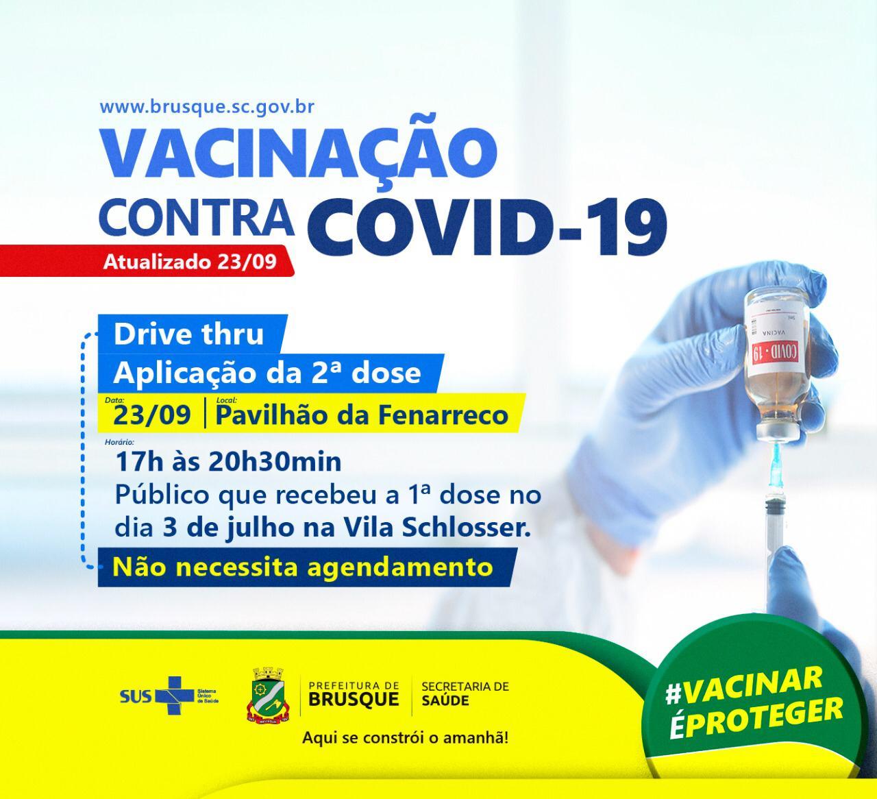 Covid-19: Hoje tem drive thru para aplicação da segunda dose da vacina