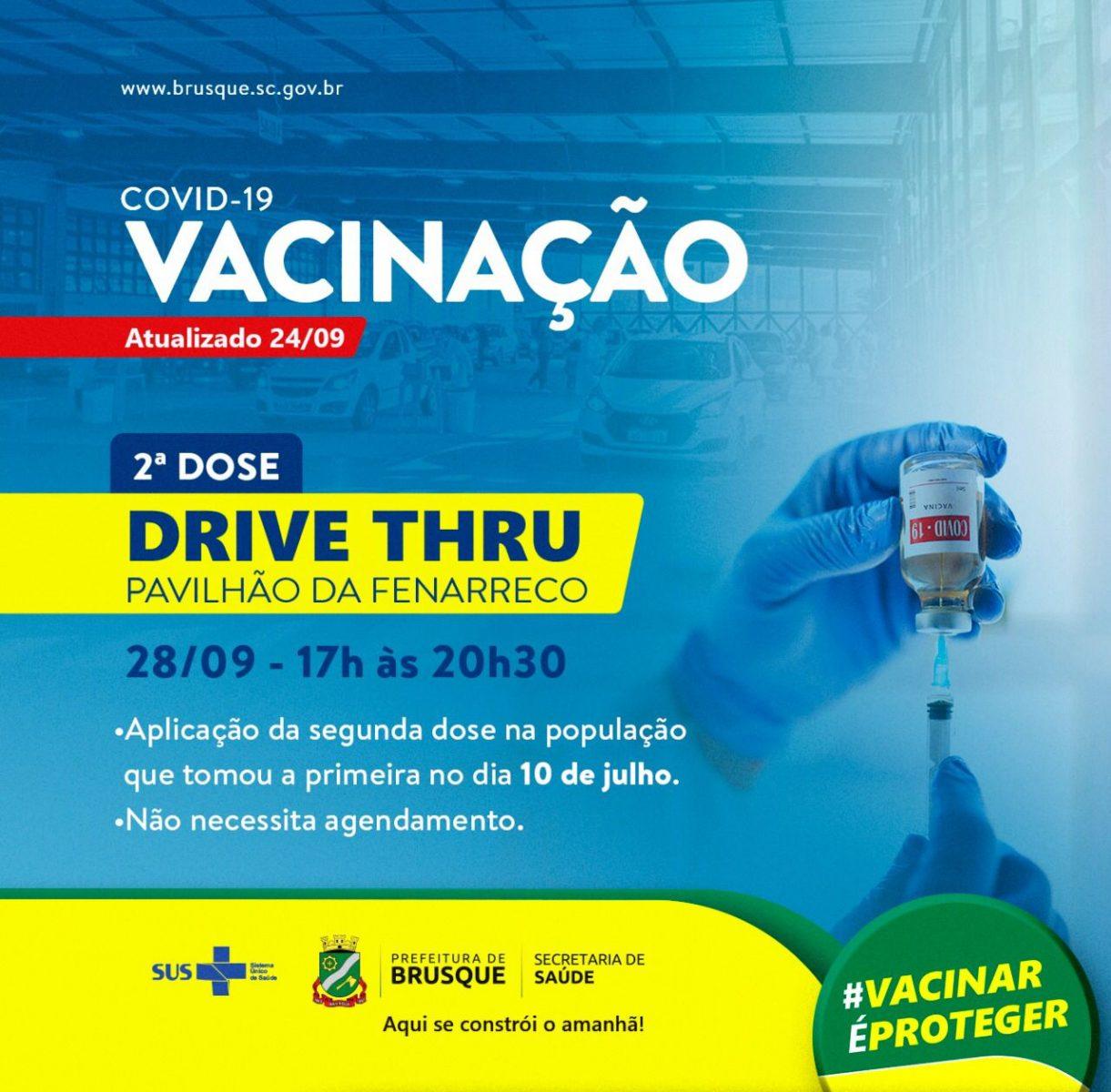 Covid-19: Drive thru para aplicação da segunda dose será realizado na terça-feira (28)
