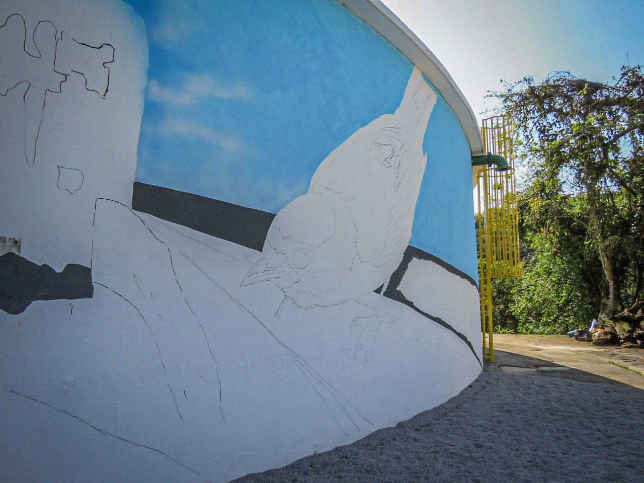 Reservatório do Samae Brusque começa a receber intervenção de arte