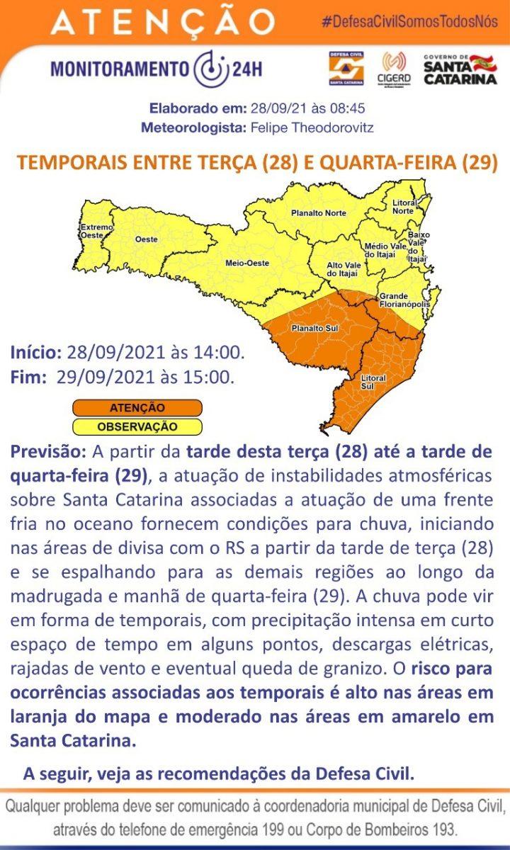 Defesa Civil informa sobre previsão de chuva e vento entre as tardes de hoje e amanhã