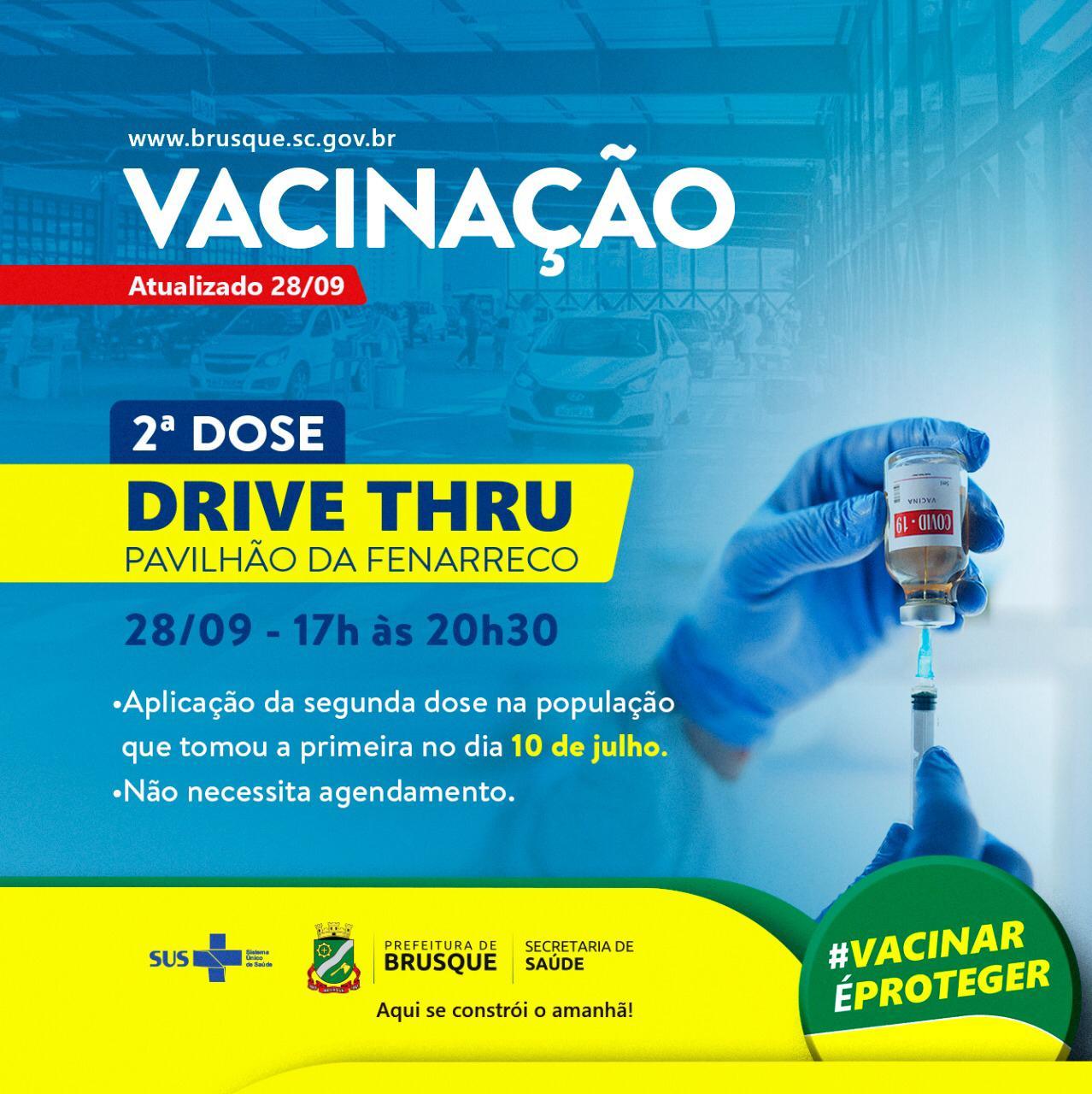 Covid-19: Nesta terça tem drive thru para aplicação da segunda dose