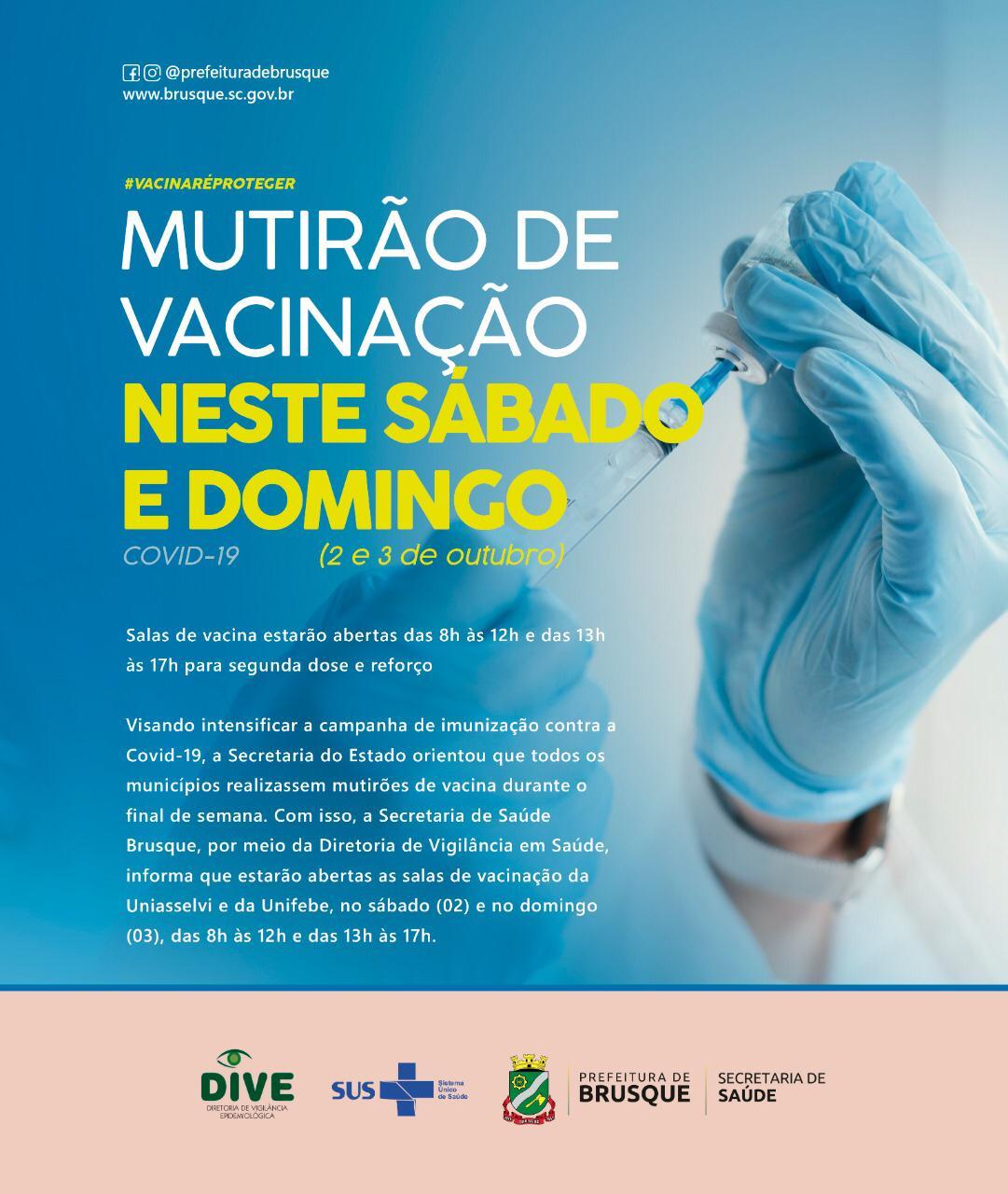 Covid-19: Mutirão de vacinação ocorre neste sábado e domingo em Brusque