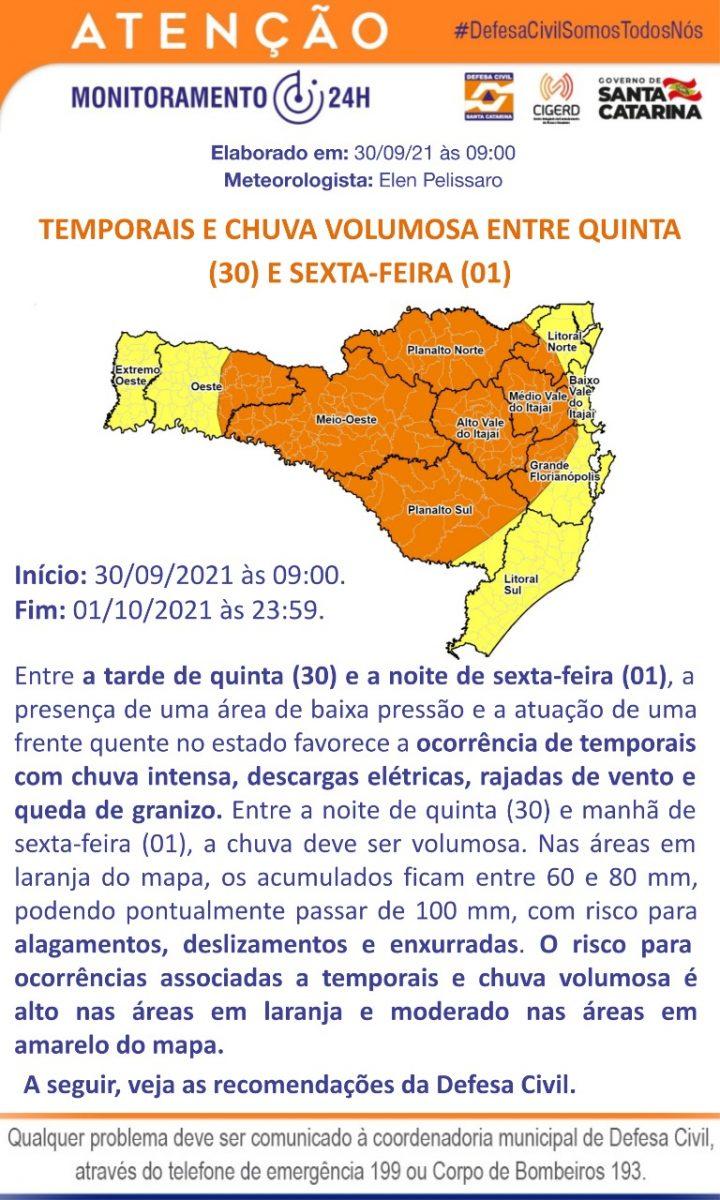 Defesa Civil alerta para possibilidade de chuva intensa