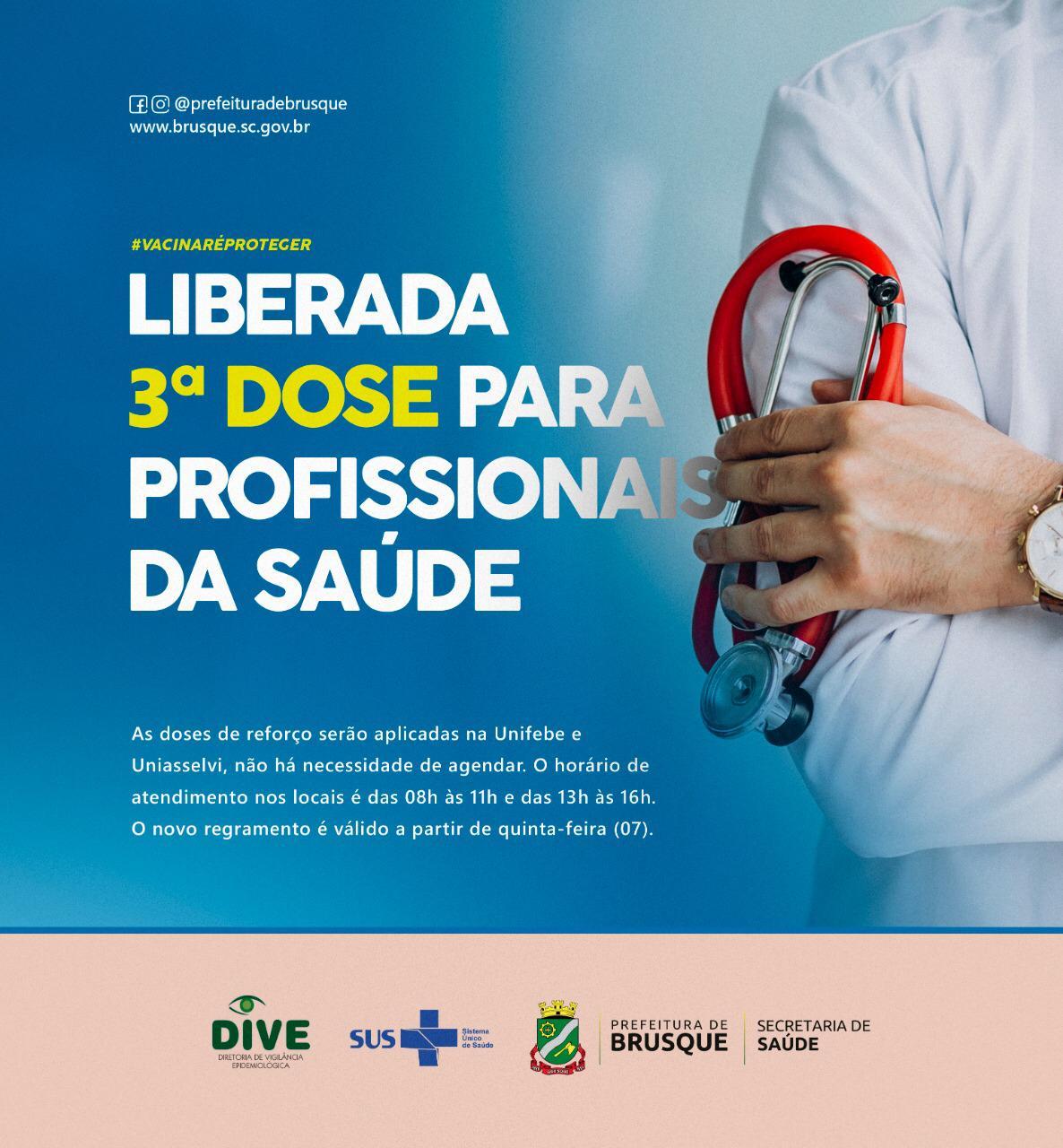 Covid-19: DIVE libera terceira dose para profissionais de saúde