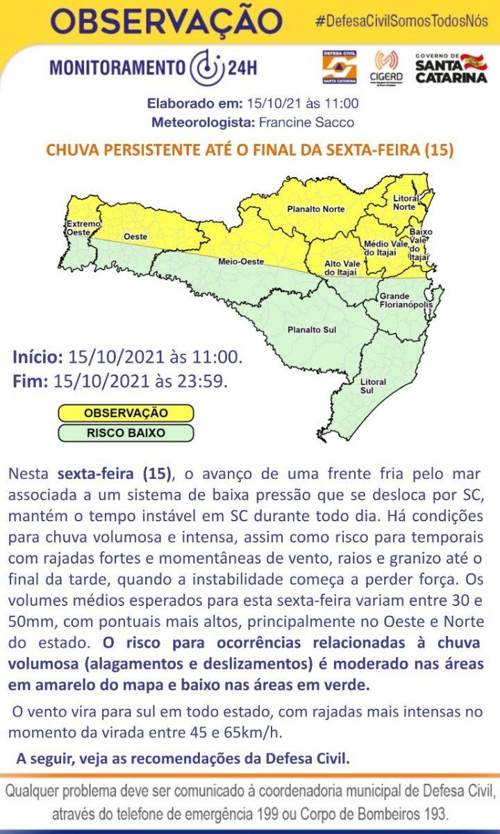 Defesa Civil divulga aviso meteorológico com possibilidade de chuva volumosa